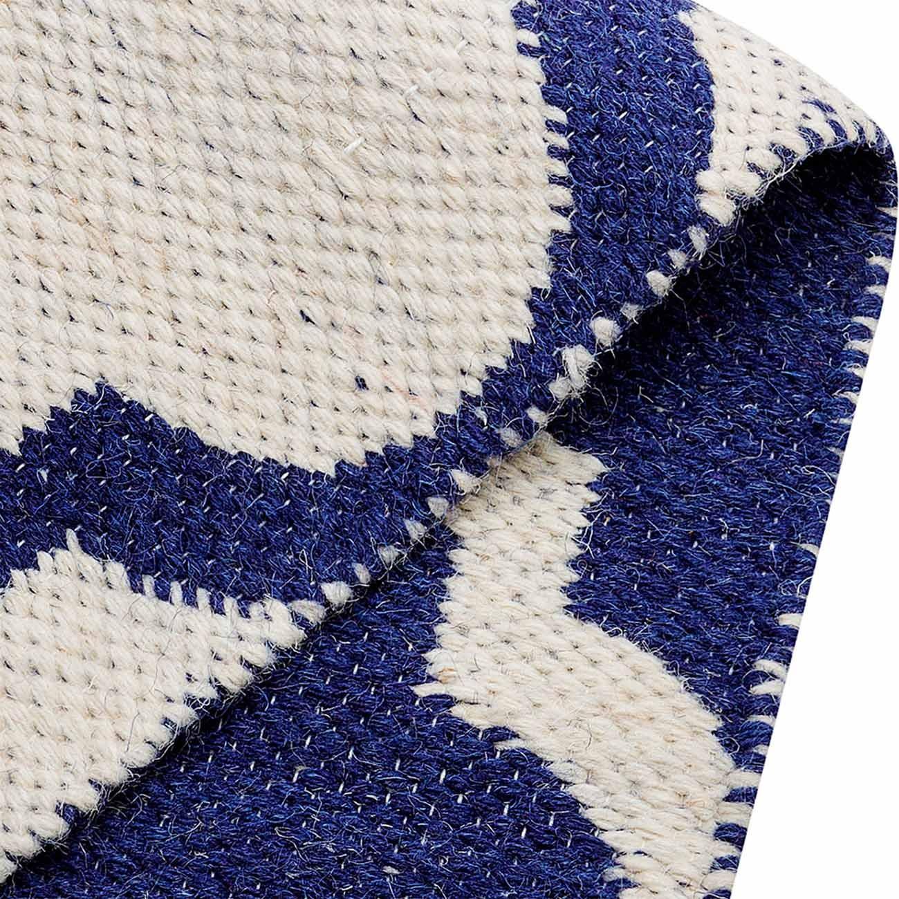 Tapete Kilim Reversível Azul e Branco 084x1100