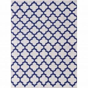 Tapete Kilim Reversível Azul e Branco